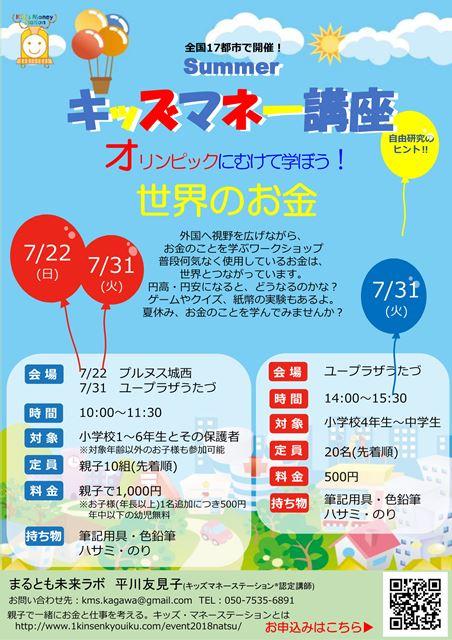 7月22日・31日【夏休み宿題応援】キッズマネー講座を開催します